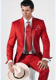 Light bLazers online shopping - Cheap And Fine Two Buttons Groomsmen Notch Lapel Groom Tuxedos Men Suits Wedding Prom Dinner Best Man Blazer Jacket Pants Tie A596