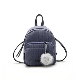 Polyester Hair Australia - Women Casual Solid Square Zipper Hair Polyester Ball Soft Shoulder Bag Interior Pocket Mini Backpack 2