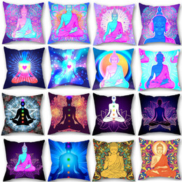 $enCountryForm.capitalKeyWord NZ - Yoga Chakra Zen Meditation Personalized Hinduism Buddhist Culture Buddha Statue Pattern Single Side Print Polyester Throw Pillow Case