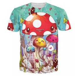 b3389d91073b Mushroom Fantastic T-Shirt Cute Mushrooms Vibrant Tees Women Men 3d Print  Outfits Casual T Shirts Fashion Short Sleeve Clothing Tops Tees