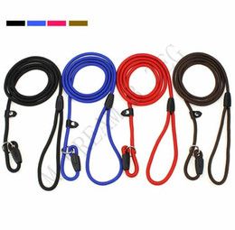 dog collars designer 2020 - Colorful Pet Dog Nylon Rope Training Leash Slip Lead Strap Adjustable Traction Collar Pet Animals Rope 0.6*130cm cheap d