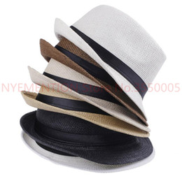 Chinese  Fashion Hats for Women Fedora Trilby Gangster Cap Summer Beach Sun Straw Panama Hat with Ribbow Band Sunhat 10pcs manufacturers