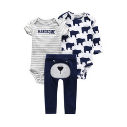 white bear cartoon UK - Newborn Set Summer Infant Clothing Baby Boy Girl Clothes Cotton Cartoon Bodysuit+rompers+pant New Born Bear Animal Print Outfits J190427