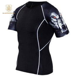 Wear Compression Shorts Australia - Running Shirt Men Compression Tights Fitness Top MMA Rashgard Anime 3D T Shirt Wolf Skull Short Sleeve Men Gym Wear A5
