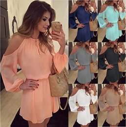 $enCountryForm.capitalKeyWord NZ - Women Chiffon Strapless Summer Dresses Sexy Fashion Strap Long-sleeved Solid Color Party Mini Casual Dress Plus Size Clothing S-XL