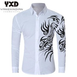 mens casual slim dragon NZ - 2020 Camisas Dragon Print Slim Fit Casual Mens Shirts 9 Colors Business Long-sleeved Shirt For Men New Brand Camisa Masculina