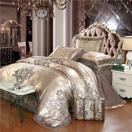 $enCountryForm.capitalKeyWord Australia - Luxury satin jacquard bedding set queen king size bed set gold silver color 4pcs cotton silk lace duvet cover sets bedsheet 36