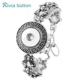 $enCountryForm.capitalKeyWord Australia - Wholesale- P00792 Snap Button Bracelet&Bangles Antique Silver Plated Vintage Charm Bracelet For Women DIY 18mm Rivca Snap Buttons Jewelry