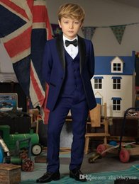 navy blue tuxedos for cheap Australia - Handsome Cheap Navy Blue Boys Tuxedo Boys Dinner Suits Custom Made Tuxedo for Kids Tuxedo Formal Occasion Suits For Men (Jacket+Pants+Vest)