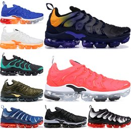 Women leather shoes usa online shopping - 2019 TN Plus Men Running Shoes Triple Black White Sunset Photo Blue Wolf Grey USA Sport Women Designer Shoes Sneakers Trainers