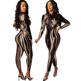 sexy women nightclub jumpsuits 2021 - Sparkle Sequins Women Party Jumpsuits Charming Stripes Mesh Panelled Long Sleeves Crew Neck Sexy Nightclub Pants Rompers 2020 e