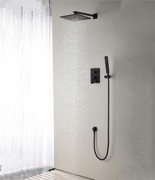 "Contemporary Metal Wall Australia - Brass Black Shower Set Bathroom 8"" Spuare Bath Shower Head Faucet Wall Mounted Shower Arm Diverter Mixer Handheld Spray Set"