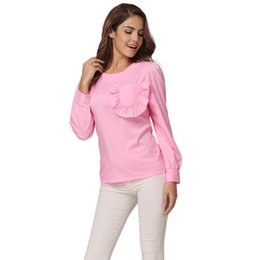 Polyester Blouse Ruffles NZ - Women Ruffles Pocket Blouse Long Sleeve Puff O Neck Back Zipper Pink Shirt Tops Fitted Elegant Casual Office Ladies Pullover Top