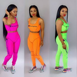 Yoga pants tops online shopping - Champions Tracksuits Women Two Piece Pants Set Outfits Letter Embroidered Sleeveless Vest Crop Top Long Slim Pant Suit Rose Red Orange Green