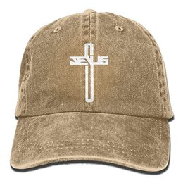 42ea3ae2645 2019 New Wholesale Baseball Caps Print Hat High Jesus Cross Mens Cotton  Adjustable Washed Twill Baseball Cap Hat