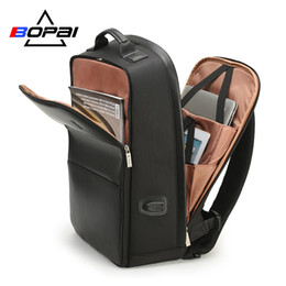 leather business backpacks for men Canada - Bopai Usb Charge Backpack Men Leather For Travelling Fashion Cool School Backpack Bags For Boys Anti Theft Laptop Backpack 2018 Y19061204