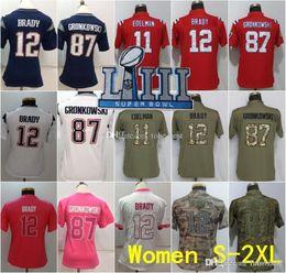 Women Super Bowl LIII 2019 New Jerseys 12 Tom Brady Patriots 11 Julian  Edelman 87 Rob Gronkowski Navy Blue White Red Camo Superbowl Patch b2b6b0074