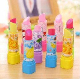 $enCountryForm.capitalKeyWord Australia - 1pcs lot Kawaii Lipstick design non-toxic eraser students' gift prize Children's educational toys office school supplies