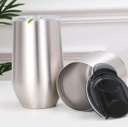 wholesale steel tumblers NZ - 16oz Stainless Steel Egg Cup double wall Vacuum Insulation Mugs Tumblers Oudoor Travel Stemless Wine Glasses Water Bottle NEW GGA2805