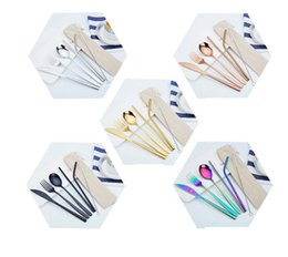 stainless spoon fork sets Australia - 7pcs 1set Stainless Steel Cutlery Set Knife Fork Spoon Straw With Cloth Pack Kitchen Dinnerware Tableware Kit LJJK1842