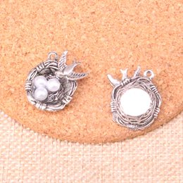 silver swallow charms Australia - 33pcs Charms swallow bird's nest eggs Antique Silver Plated Pendants Fit Jewelry Making Findings Accessories 24*19*8mm
