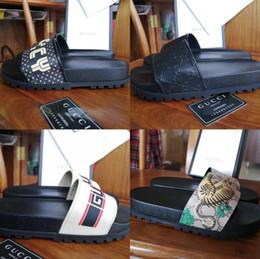 Micro Gears Australia - Designer Rubber slide sandal Floral brocade men slipper Gear bottoms Flip Flops women striped Beach causal slipper with Box US5-11