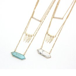 turquoise pendants wholesale Australia - Multilayer Hexagon turquoise Pendant Short Gold Chain Necklaces Geometric Accessories Jewelry