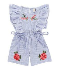 Venta al por mayor de en stock Bebé recién nacido Niña pequeña Ruffles de verano Mono de rayas Flor de mameluco Body Body Mameluco