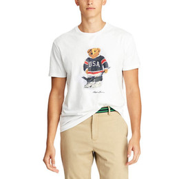 Wholesale polo t shirt usa resale online – US SIZE mens Womens designer t shirts Polo Bear shirt Martini Bear tshirt Short sleeve USA T shirt cotton Hockey bear dropshipping