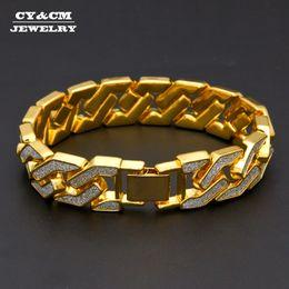 "$enCountryForm.capitalKeyWord Australia - Sand Blast Bracelets Cuban Chain Link Alloy Iced Out Hip Hop Gold Silver Tone Heavy 16mm Mens Bling Bracelet For Men Women 8.6"" J190719"