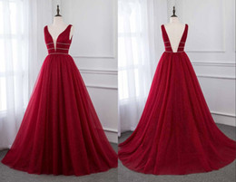 Red Dress V Neck Straps Australia - 2019 Dark Red Open Back Cheap Evening Bridesmaid Dresses Deep V neck Straps A line Tulle Beaded Sequins Long Prom Party Formal Dress