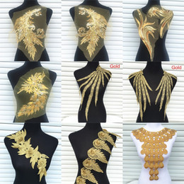 wholesale lace motifs Australia - 1Pc Gold Color Venise Lace Fabric Dress Applique Motif Blouse Sewing Trims DIY Neckline Collar Costume Decoration Accessories