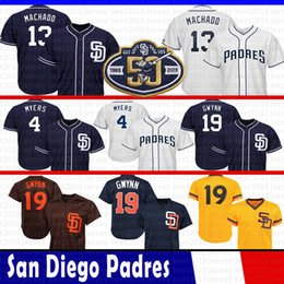 Tony gwynn baseball online shopping - 50th Patch San Diego Manny Machado Padres Jersey Wil Meyers Tony Gwynn Cool Base Mesh Baseball Jerseys Size M XXXl