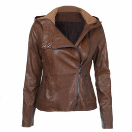 $enCountryForm.capitalKeyWord NZ - 2019 autumn winter European and American fashion hooded long-sleeved pure color women's leather short slim Brown jacket female