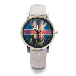 guitar black yellow UK - word guitar universal watch denim fashion watch