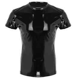 $enCountryForm.capitalKeyWord NZ - Mens Wetlook Tops Punk Fashion Clothing Pvc Faux Leather Male T-Shirt Night Parties Clubwear Costume Muscle Tight T-shirt