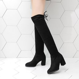 Knee High Shoe Laces Australia - Flock Leather Women Over The Knee Boots Lace Up Sexy High Heels Women Shoes Lace Up Winter Boots