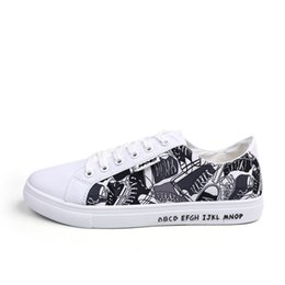 fc5002639639 Graffiti Men's Casual Shoe 2019 Brand Fashion Men Canvas Shoes Hot Sale  Boys College Wind Spell Color Breathable Sneakers Homme Blanche BF