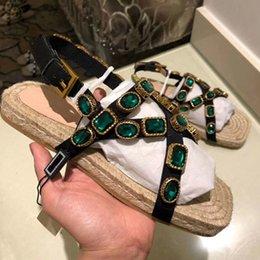 Fashionable Flat Shoes Laces NZ - New fashionable women's cross-tie flat sole shoes lace Espadris shoes casual sandals rubber printed BB slippers flip-flops 35-41