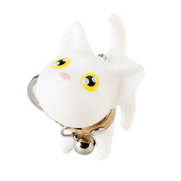 cute fruits doll Canada - Cute Cat Doll with Bell PVC Pendant Keychain Key Holder Ring Bag Ornaments Gift