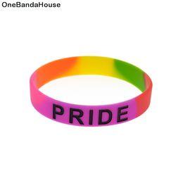 Glow Party Decorations Australia - Wholesale 100PCS Lot Pride Pink Rainbow Color Silicone Rubber Wristband Classic Decoration Fashion Bracelet Adult Size