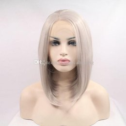 Discount silver bobs - Natural Hairline Short Silver Gray Bob Lace Front Wigs for Women Heat Resistant Fiber Platinum Blonde Bob Synthetic Hair