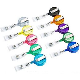 retractable badge ring UK - Retractable Badge ID Card Lanyard Name Tag Key Ring Holder Reels Random Color Work Permit Clips School Office HHA1114