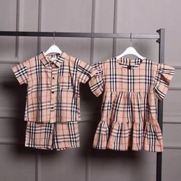 Kids embroidery suits online shopping - Brother and sister outfit CHILDREN CLOTHING BOYS GIRLS SET SUIT KIDS CLOTHES luxury clothes kids designer suits BBR dress Plaid shirt