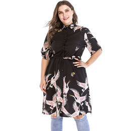 Wholesale Plus Size Shirt Dress XL Women Summer Turn Down Collar Short Sleeve Oversized Dress Birds Print Casual Midi Black Vestido