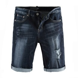 dsel jeans NZ - Fashion Classical Men Jeans Shorts Dark Blue Vintage Design Stretch Shorts Summer Knee Length Denim Shorts DSEL Short Jeans
