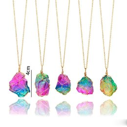 $enCountryForm.capitalKeyWord Australia - Color Random Handmade Newest Irregular Natural Stone Pendant Necklaces Colorful Crystal Wire Wrapped Necklace For Women Free DHL