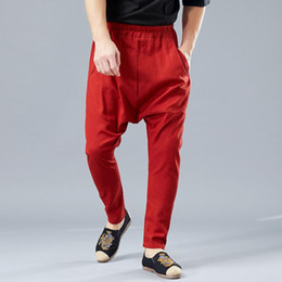 545ac1042 Chinese Style linen knickerbockers Flaxen Hip Hop Drop-crotch feet pants  big size retro Elastic Waist harem Trousers Bloomers