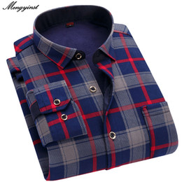 long sleeve mens champagne dress shirt 2021 - Autumn Winter Mens Long Sleeve Plaid Warm Thicken Fleece Lined Shirt Fashion Soft Casual Flannel Dress Shirt Plus Big Size L-4XL