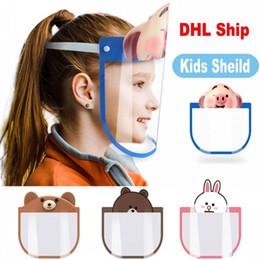 Vente en gros Belle 10 PC Kid Cartoon Visage Bouclier Masques de protection transparent Anti-poussière anti-buée facial Bouclier anti-poussière coupe-vent PET Masque FY8037